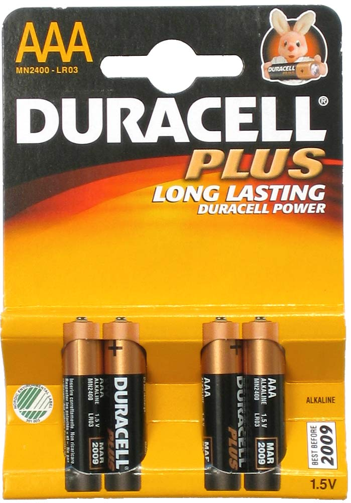 Duracell Plus, AAA, 4 pack