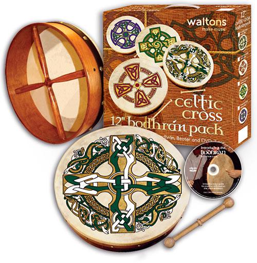 Waltons 12inch Bodhran, Gaelic Cross