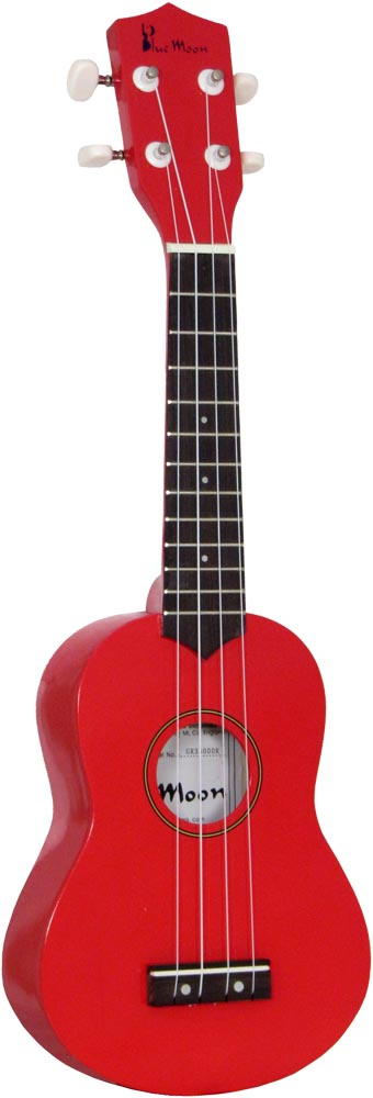 Blue Moon BU-02R Coloured Soprano Uke, Red