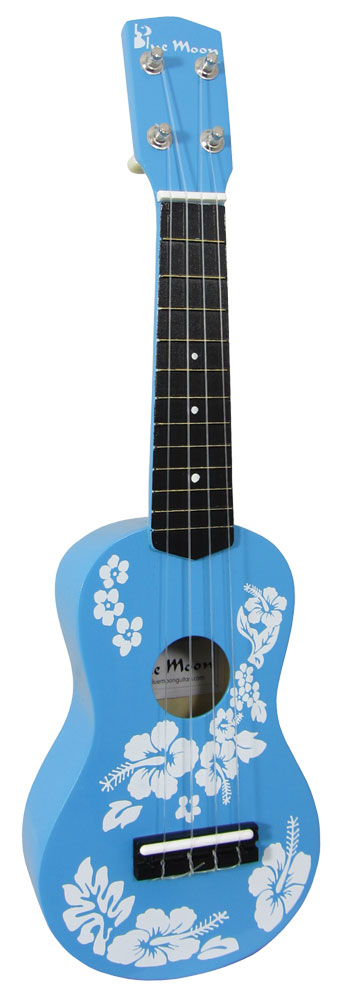 Blue Moon BU-01 Soprano Flower Ukulele, Blue