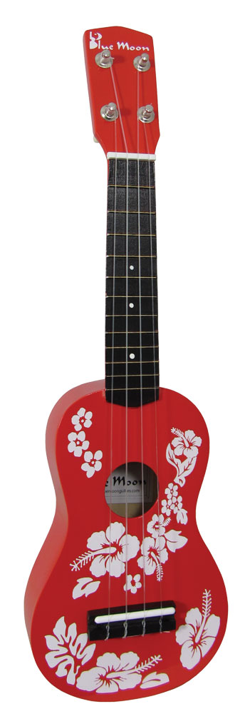 Blue Moon BU-01 Soprano Flower Ukulele, Red