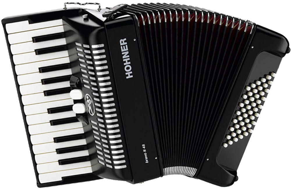 Hohner Bravo 48 Bass Accordion, Black