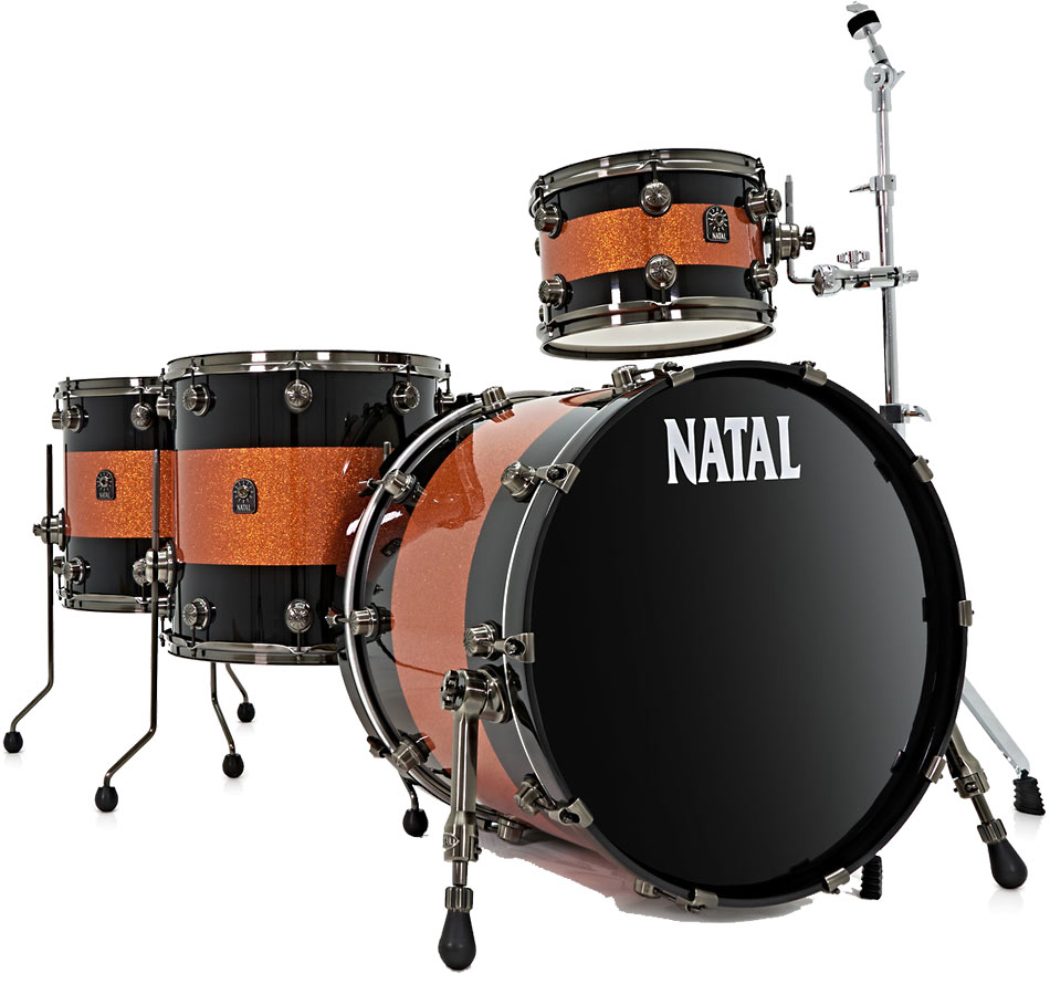 Natal Drums Original Series 4 Piece Drum Kit, Orange/Black