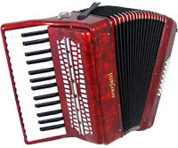 Scarlatti ASCARI I Piano Accordion, 24 Bass. Red