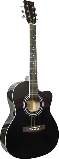 Blue Moon BG-15 Small Body Guitar, Cutaway, BLK