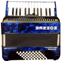 Hohner Bravo 48 Bass Accordion, Blue