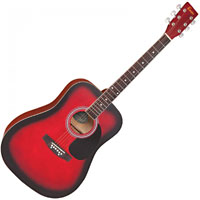 Encore Dreadnought Guitar Red