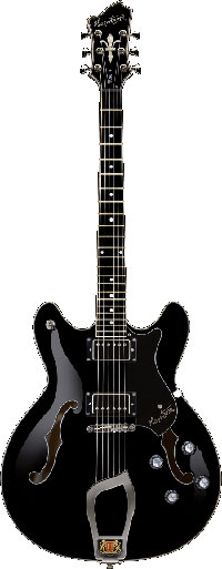 Hagstrom Guitars Viking Semi Hollow Guitar, Black Gloss