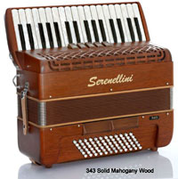 Serenellini Solo 72 Bass Accordion, Mahogany